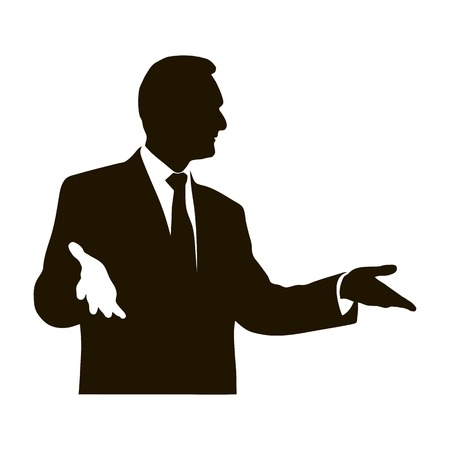 Silhouette protruding speaker with wide beautiful hand gestures. Bolsun. Rhetoric. Oratory, lecturer, business seminar. Vector. Icon.