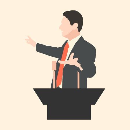 Redenaar spreekt met brede gebaren achter een podium. Spreker maakt een verslag aan het publiek en de pers. Welsprekende toespraak voor een publiek. Retoriek. Oratorium, politicus, zakenman. Vector. Pictogram.