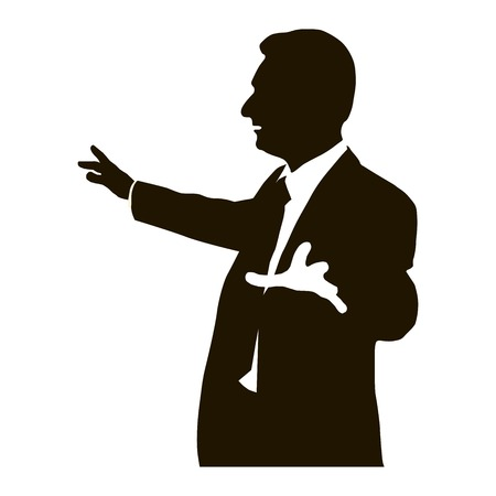 orator: Silhouette protruding speaker with wide beautiful hand gestures. Bolsun. Rhetoric. Oratory, lecturer, business seminar. Vector. Icon.