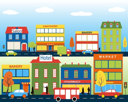 Small town with small and medium business. Set of buildings. Bakery, salon, market and pharmacies. Street with people watching. Vector. For brochures, backgrounds, printed products. Ilustração