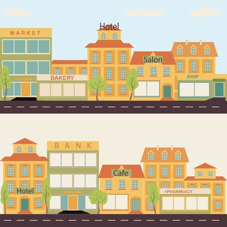 Set of buildings in the style of small business flat design. Architecture of a small town market, salon, pharmacy, bakery, bank, hotel, trees, shop, elements. Roads, city, sky, infographic.