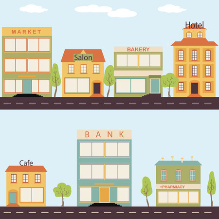 small business: Set of buildings in the style of small business flat design