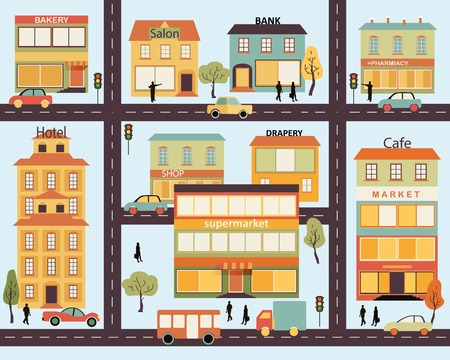 Set of buildings in the style of small business flat design. Architecture of a small town market, salon, pharmacy, bakery, bank, supermarket, drapery shop.