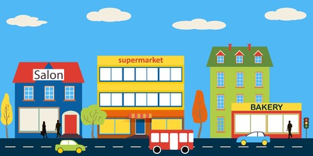 Small town with small and medium business. Bakery, salon, market and pharmacies. Street with people watching. Vector. For brochures, backgrounds, printed products.