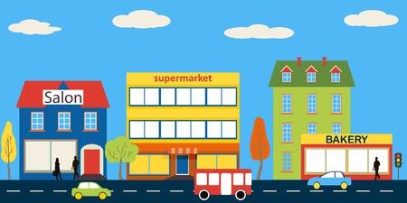 cartoon mensen: Kleine stad met kleine en middelgrote bedrijven. Bakkerij, salon, markt en apotheken. Straat met mensen kijken. Vector. Voor brochures, achtergronden, gedrukte producten. Stock Illustratie