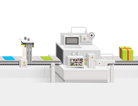 Startup of a new product. Raw materials moving on the conveyor belt. Vector infographics production business into a flat style and perspective view of. Minimalistic clean design. Stock Illustratie