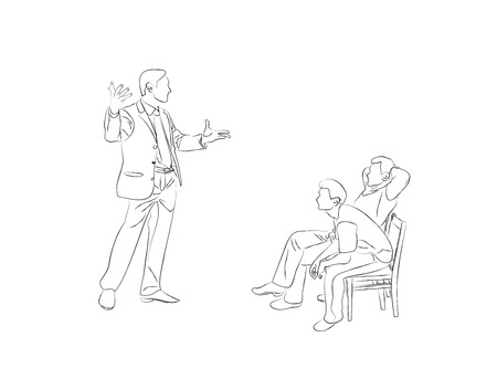 nonverbal: Doodle Sketch two men sit on chairs and listen to the speaker. And a speaker to the audience with a speech harvested. Speaker says it and gesticulating.