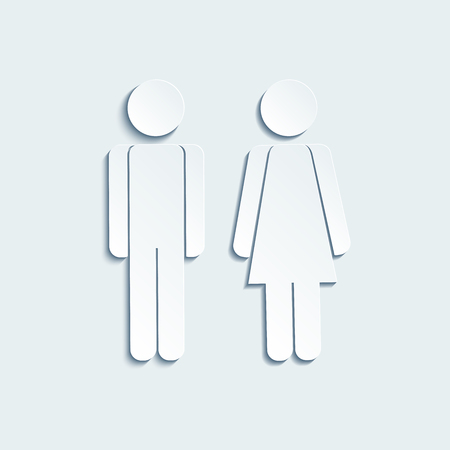 Vector man and woman icons for toilet or restroom sign. Vector sign of gender on the door in the mens and the womens restroom. Vector
