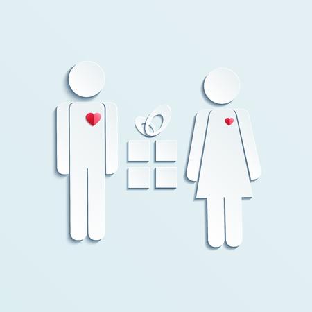Couple flirt icône. Mari donne des cadeaux à la femme symbole silhouette. 8 Mars. Infographies pour une joyeuse Saint-Valentin. Vector icône plat