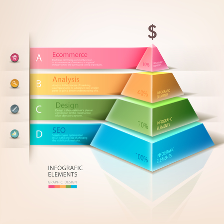 Colored pyramid info graphics. For workflow layout, diagram, number options, step up options, web design, infographics. Business development. A successful business. Promotion and advertising business.