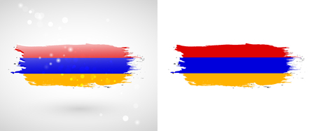 armenian: Armenian flag. Independence Day. Flag painted with a brush with paint. Grungy flag. Grungy style. Brushstroke.    Illustration