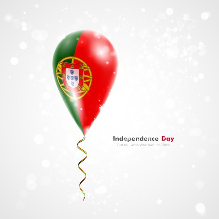 feast day: Flag of Portugal. Flag of the country on balloon. Celebration and gifts. Ribbon in the colors of the flag are twisted under the balloon. Independence Day. Balloons on the feast of the national day.