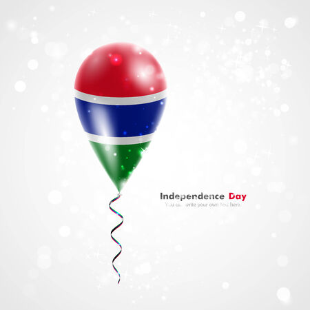 feast day: Flag of Gambia on balloon. Celebration and gifts. Ribbon in the colors of the flag are twisted under the balloon. Independence Day. Balloons on the feast of the national day.