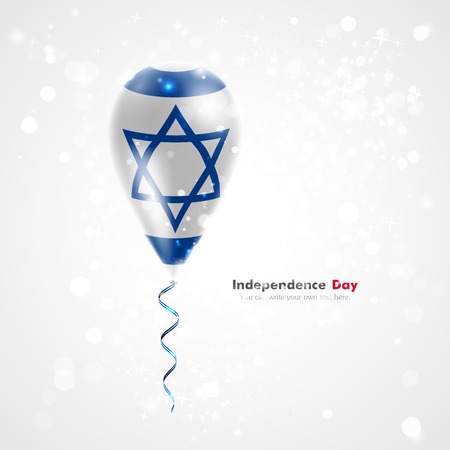 feast day: Flag of Israel on balloon. Celebration and gifts. Ribbon in the colors of the flag are twisted under the balloon. Independence Day. Balloons on the feast of the national day. Illustration