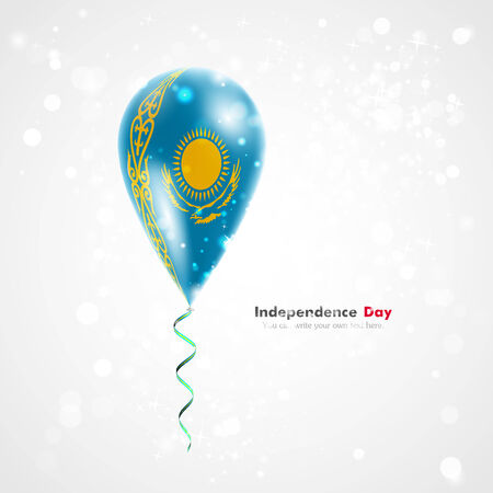 feast: Flag of Kazakhstan on balloon. Celebration and gifts. Ribbon in the colors of the flag are twisted under the balloon. Independence Day. Balloons on the feast of the national day.