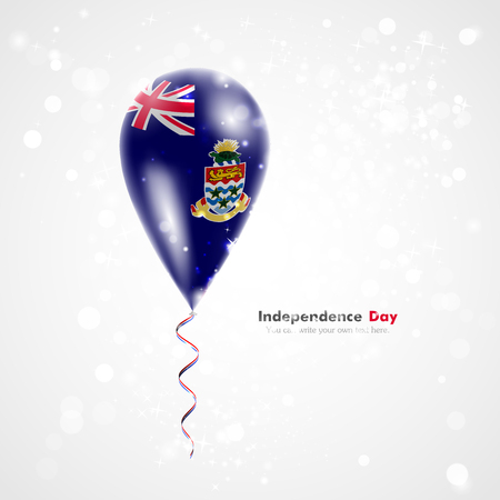 Flag of the Cayman Islands on balloon. Celebration and gifts. Ribbon in the colors of the flag are twisted under the balloon. Independence Day. Balloons on the feast of the national day. Vector