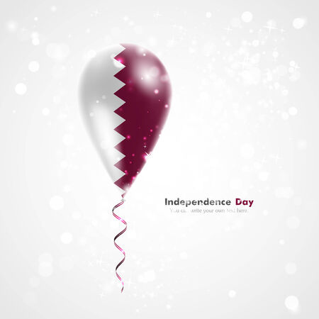feast: Flag of Qatar on balloon. Celebration and gifts. Ribbon in the colors of the flag are twisted under the balloon. Independence Day. Balloons on the feast of the national day.