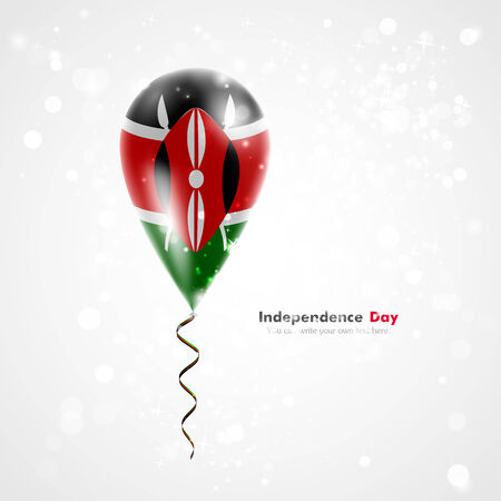 feast: Flag of Kenya on balloon. Celebration and gifts. Ribbon in the colors of the flag are twisted under the balloon. Independence Day. Balloons on the feast of the national day. Illustration