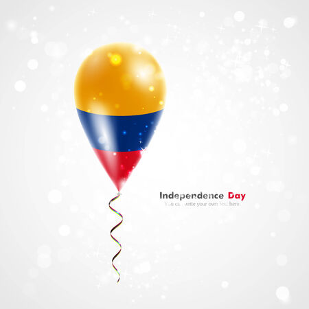 conquest: Flag of Colombia on balloon. Celebration and gifts. Ribbon in the colors of the flag are twisted under the balloon. Independence Day. Balloons on the feast of the national day.