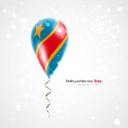 foreign country: Flag of Democratic Republic of Congo on balloon. Celebration and gifts. Ribbon in the colors of the flag are twisted under the balloon. Independence Day. Balloons on the feast of the national day. Illustration
