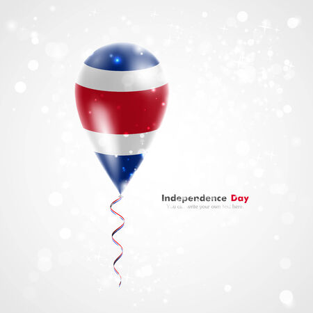 Flag of Costa Rica on balloon. Celebration and gifts. Ribbon in the colors of the flag are twisted under the balloon. Independence Day. Balloons on the feast of the national day.