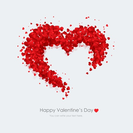 Happy Valentines Day greeting card vector illustration. Vector Decorative heart made red hearts on a light gray background.