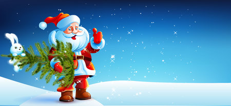 Santa Claus standing in the snow with a bag of gifts and showing thumb up.