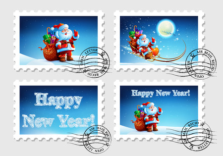 Postage stamp for an envelope with a letter with a picture of Santa Claus. Happy New Year. Merry Christmas.