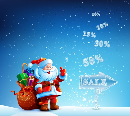 Santa Claus with a bag of gifts in a hurry to sell. Happy New Year. Sale
