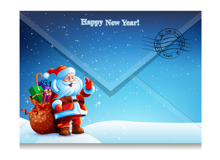 Envelope with a letter with a picture of Santa Claus. Happy New Year. Merry Christmas. Vector. Icon. Vector