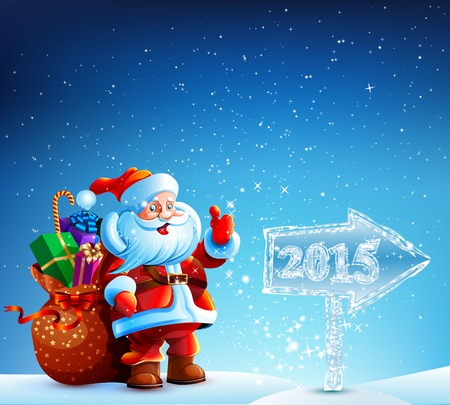 Santa Claus with gifts goes to Merry Christmas. The arrow indicates the direction of the ice in the new year 2015. Vector. Icon. Ilustração