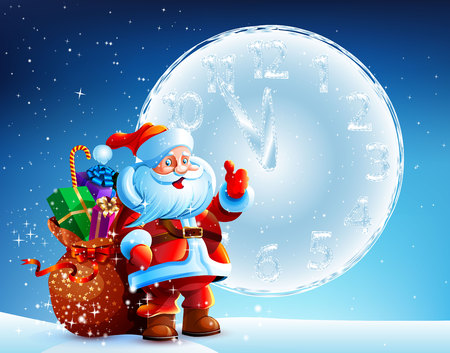frostbitten: Santa Claus is standing in the snow with a bag of gifts on background zveznogo sky. Frostbitten big round clock. Vector. Icon. Happy New Year 2015 Illustration