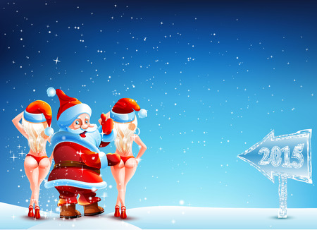 Santa Claus and two girls standing in the snow with a thumbs up. He stands on a dark blue sky with stars. Two girls blonde in panties and a Santa hat. Direction of the New Year 2015. Vector. icon