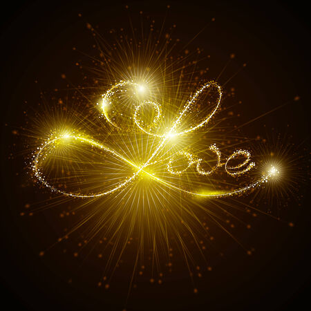 bengal fire: Vector inscription love with sparklers and fireworks on a dark background. Illumination. Happy Valentines Day.