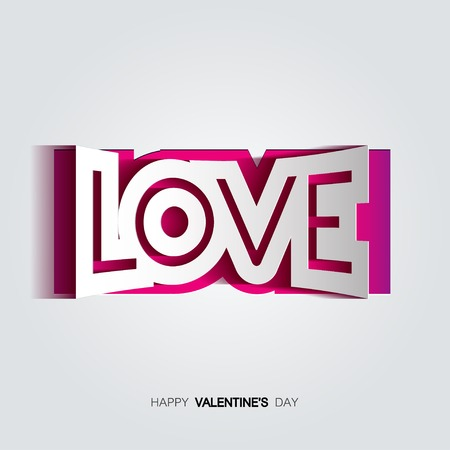 convex: Vector paper curved convex inscription love cut from pink backdrop on a gray background.  Happy Valentines Day Card Design. 14 February. I Love You.