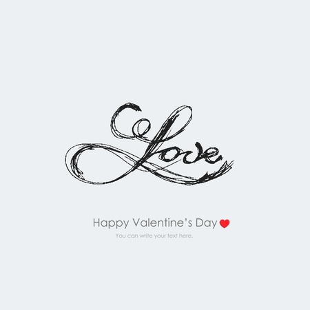Vector vintage inscription love by hand. Lettering and calligraphy. Happy Valentines Day. Vector