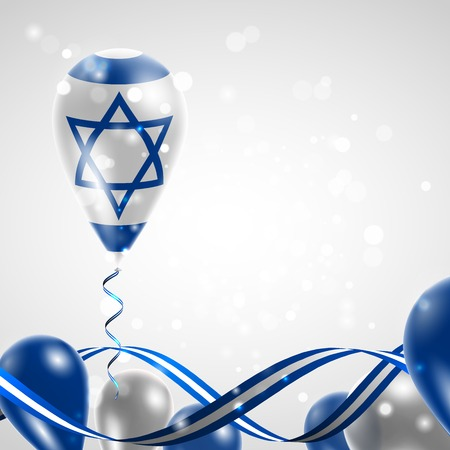 Flag of Israel on balloon. Celebration and gifts. Ribbon in the colors of the flag are twisted under the balloon. Independence Day. Balloons on the feast of the national day. Vettoriali