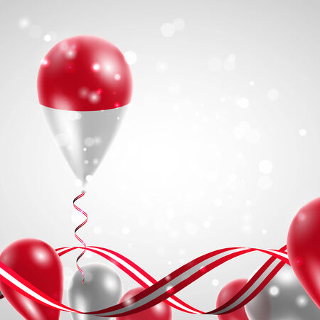 feast day: Flag of Indonesia on balloon. Celebration and gifts. Ribbon in the colors of the flag are twisted under the balloon. Independence Day. Balloons on the feast of the national day. Illustration