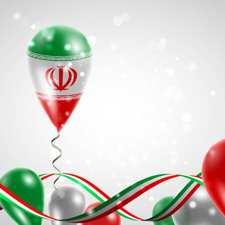 feast: Flag of Iran on balloon. Celebration and gifts. Ribbon in the colors of the flag are twisted under the balloon. Independence Day. Balloons on the feast of the national day.