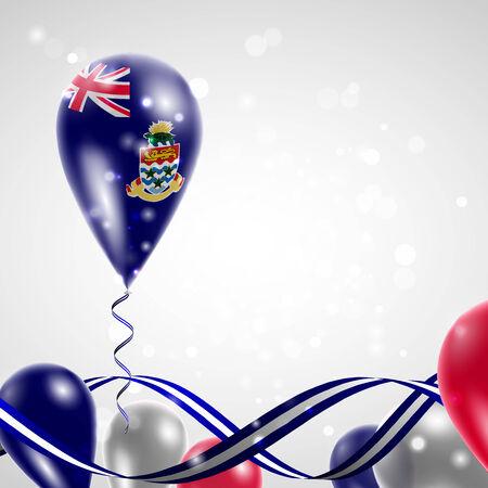 cayman: Drapeau des �les Ca�mans sur ballon. C�l�bration et cadeaux. Ruban dans les couleurs du drapeau sont tordus sous le ballon. Jour De L'Ind�pendance. Ballons sur la f�te de la f�te nationale. Illustration