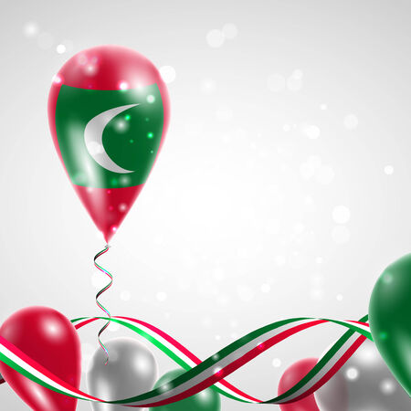 Flag of the Maldives on balloon. Celebration and gifts. Ribbon in the colors of the flag are twisted under the balloon. Independence Day. Balloons on the feast of the national day. Illustration