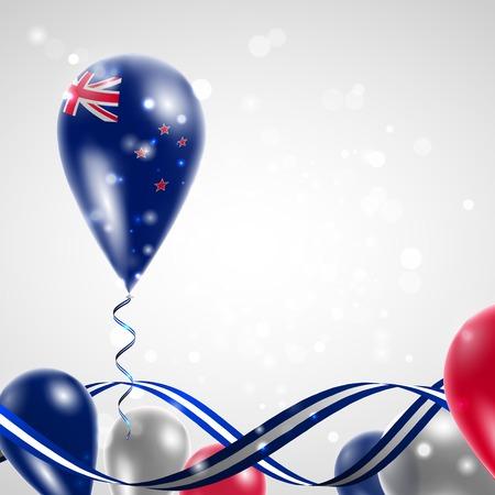 new zealand flag: Nuova Zelanda bandiera sul pallone. Celebrazione e regali. Nastro nei colori della bandiera sono intrecciati sotto il pallone. Giorno Dell'indipendenza. Palloncini in occasione della festa del giorno nazionale. Vettoriali