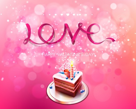 unusual valentine: Vector inscription love pink ribbon on a pink background with cake bokeh and light. Happy Valentines Day Card Design. February. I Love You. Vector Blurred Soft Background. Illustration