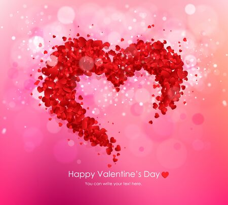 Happy Valentines Day greeting card vector illustration. Vector Decorative heart made red hearts on a pink background wiht bokhe.