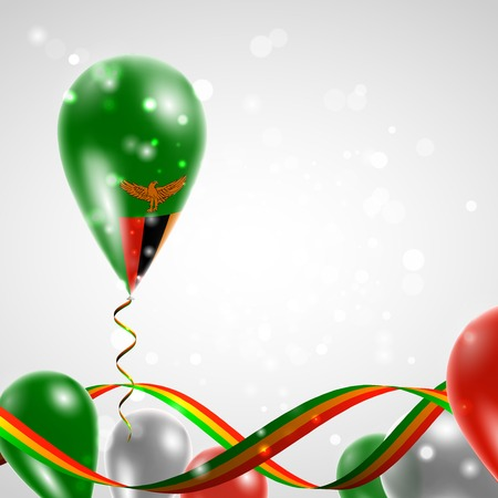 feast: Flag of Zambia on balloon. Celebration and gifts. Ribbon in the colors of the flag are twisted under the balloon. Independence Day. Balloons on the feast of the national day. Illustration