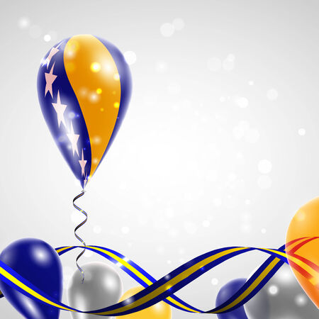 feast: Flag of Bosnia and Herzegovina on balloon. Celebration and gifts. Ribbon in the colors of the flag are twisted under the balloon. Independence Day. Balloons on the feast of the national day. Illustration