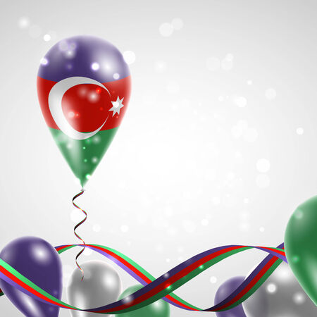 azerbaijani: Azerbaijani flag on balloon. Celebration and gifts. Ribbon in the colors of the flag are twisted under the balloon. Independence Day. Balloons on the feast of the national day.