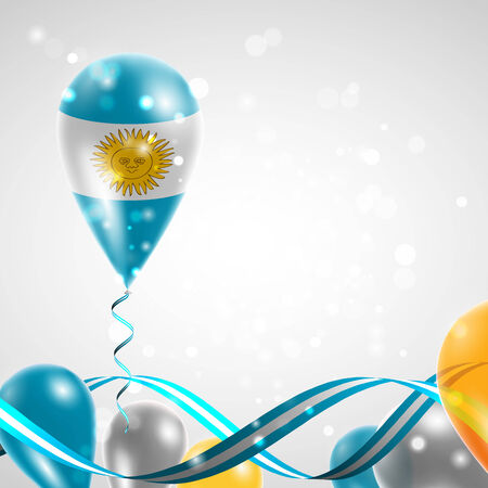 feast: Flag of Argentina on balloon. Celebration and gifts. Ribbon in the colors of the flag are twisted under the balloon. Independence Day. Balloons on the feast of the national day.