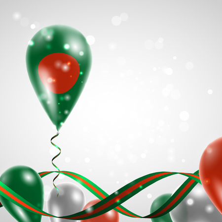 national flag bangladesh: Flag of Bangladesh on balloon. Celebration and gifts. Ribbon in the colors of the flag are twisted under the balloon. Independence Day. Balloons on the feast of the national day.