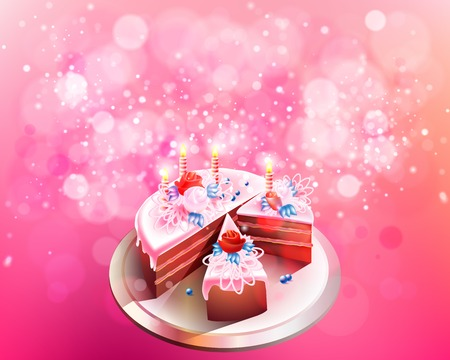 fire flower: Vector illustration with big chocolate cake, flowers and candles for Valentines Day, birthday, celebration, congratulations, triumph and festivals on a pink background with bokeh. Illustration